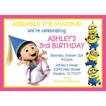 Girl Minion Invitation Template Free Buscar Con Google Proyecto