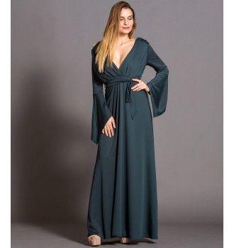 79a5ed599fa7 Μάξι Κρουαζέ Φόρεμα με Ζώνη και Μανίκια Καμπάνα - Κυπαρισσί