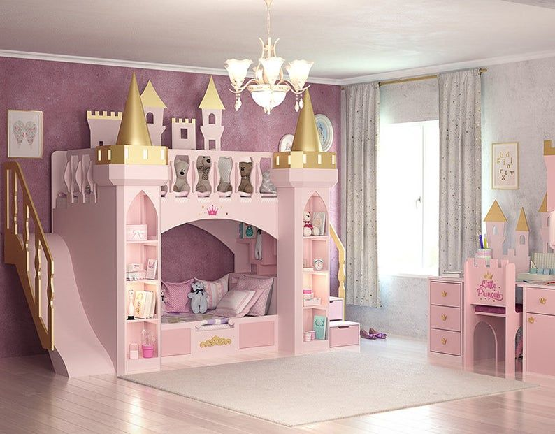 Made To Order Princess Castle Bunk Bed Desk And Chair Etsy