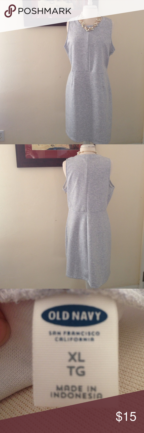 """Gray Dress Old Navy, gray sleeveless dress. Size XL. Length: 36"""". Material: 84% polyester, 16% rayon. Machine wash cold. Pre-loved, beautiful condition, slight wear on inside seam (not visible when worn). Old Navy Dresses Midi"""