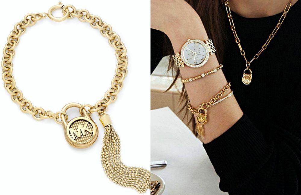 Michael Kors Logo Padlock Chain Tassel Link Bracelet Mkj6818710 Gold Nib Michaelkors Chain