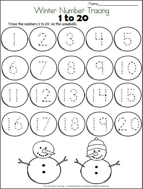 Snowball Math - Trace Numbers to 20 | Daycare Worksheets | Pinterest ...