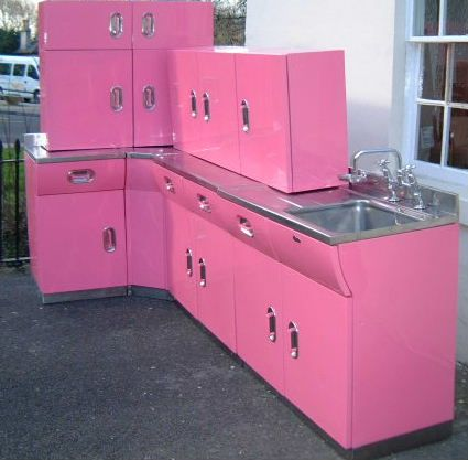 vintage english rose metal kitchen cabinets from spitfires to luxe to salvage and back again. Black Bedroom Furniture Sets. Home Design Ideas