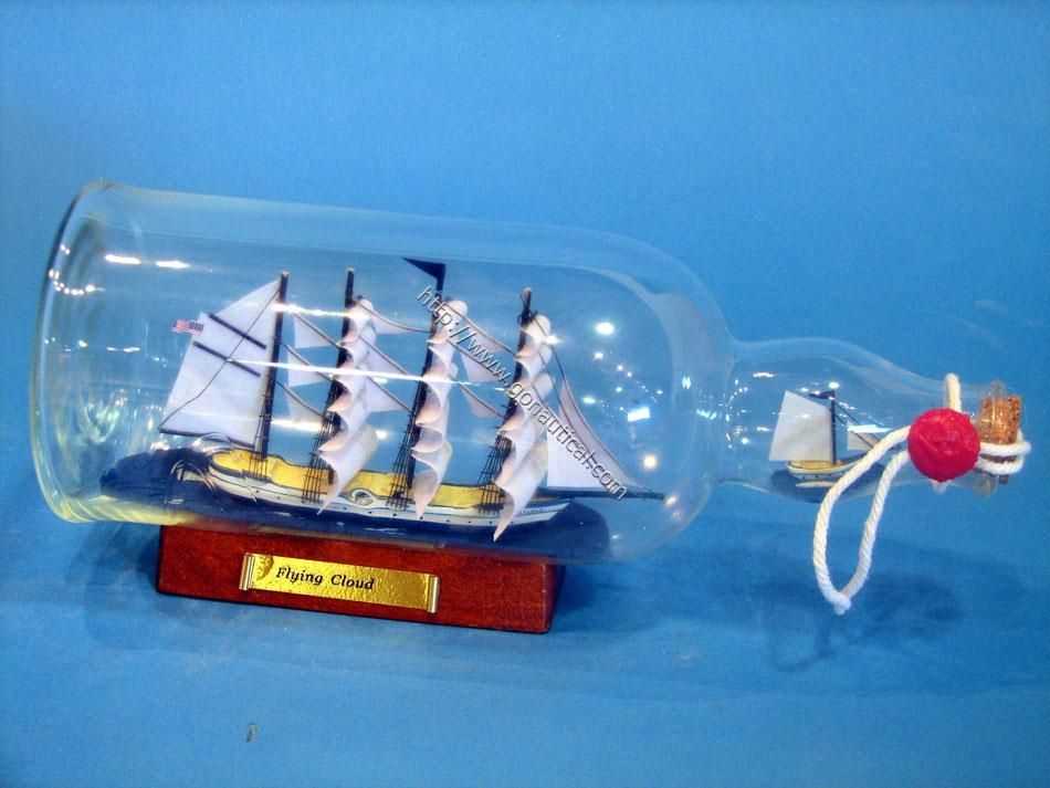 "Flying Cloud Ship in a Bottle 11"" SHIPS IN A BOTTLES 