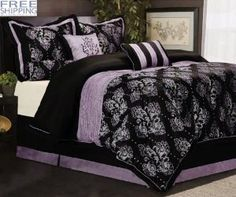 7 Pcs Madelena Majestic Floral Comforter Set Bed In A Bag King Black/Purple