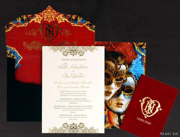 East Six Wedding Invitations New York Venetian Masquerade Bold
