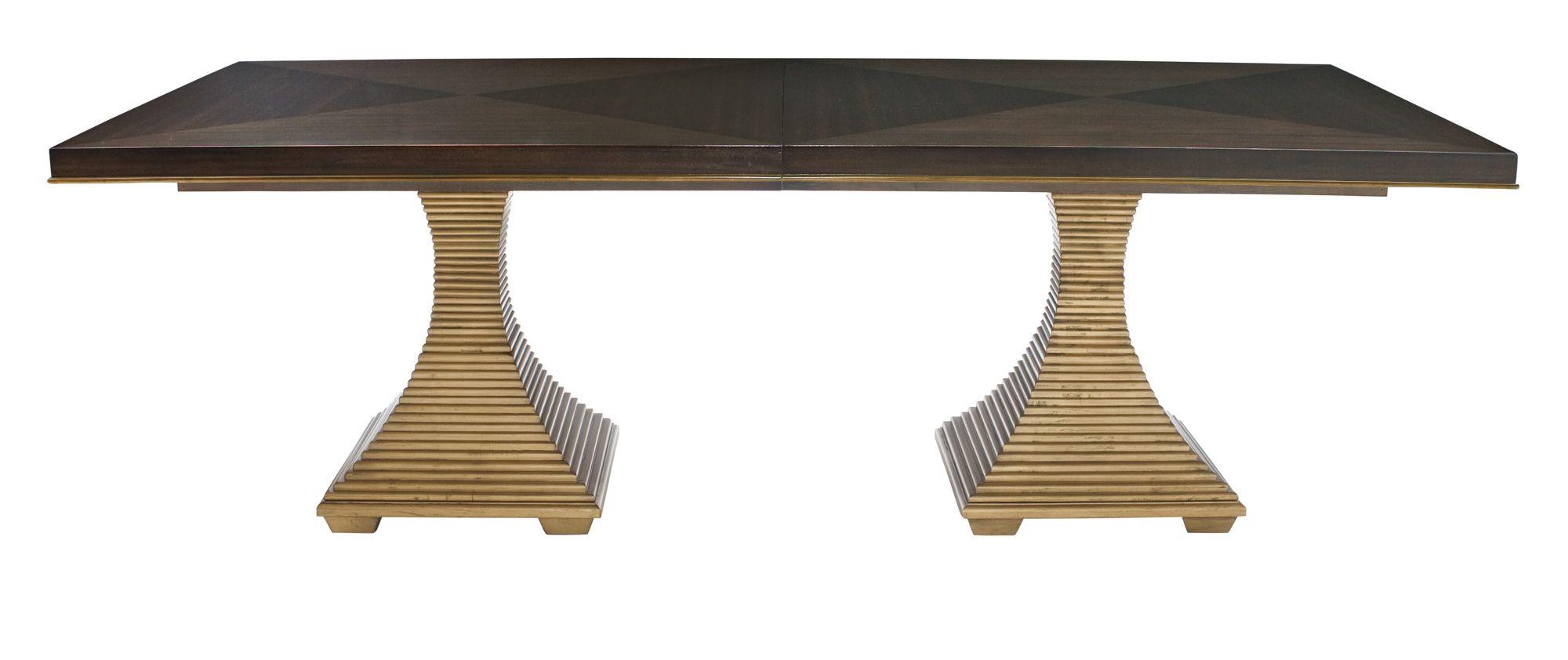 Bernhardt Jet Set Double Pedestal Dining Table In Caviar Dining