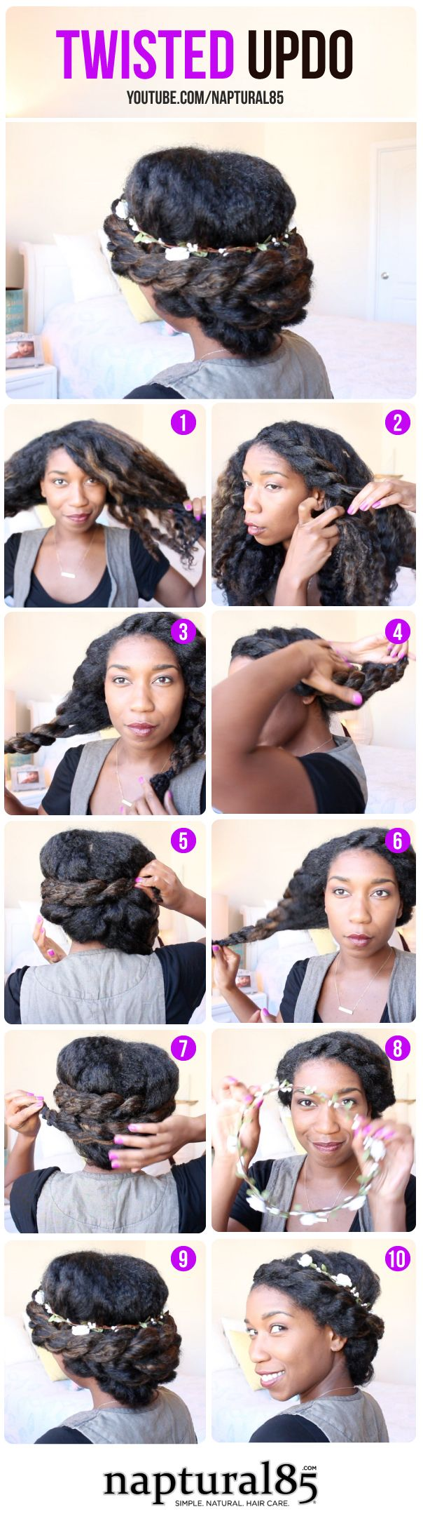 Natural hairstyles by naptural twisted updo easy hairstyle