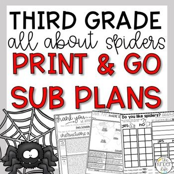 October Third Grade Spiders Emergency Sub Plans #emergencysubplans