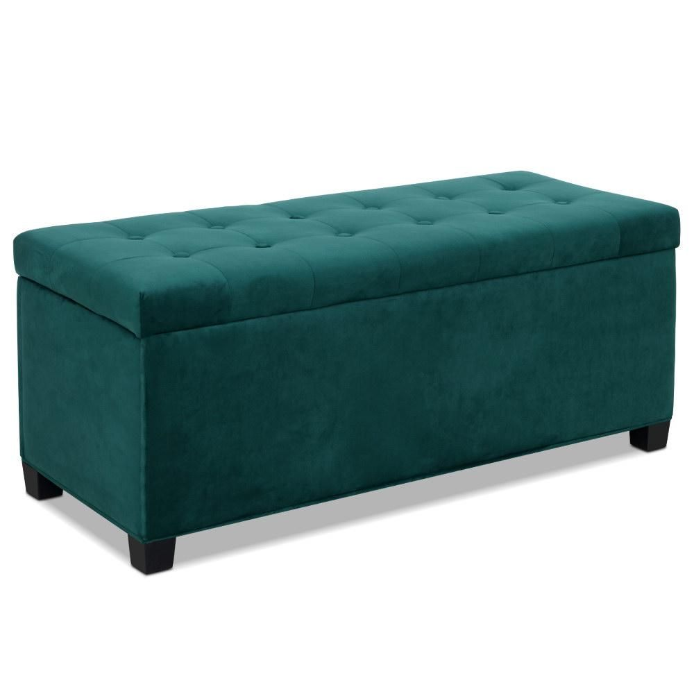 Storage Ottoman Blanket Box Velvet Foot Stool Rest Chest Couch Toy Green In 2020 Storage Ottoman Blanket Box Wooden Toy Chest