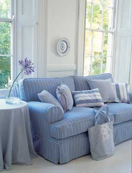 blue/white shirt stripe sofa/pillows - love that faded blue! | Blue ...