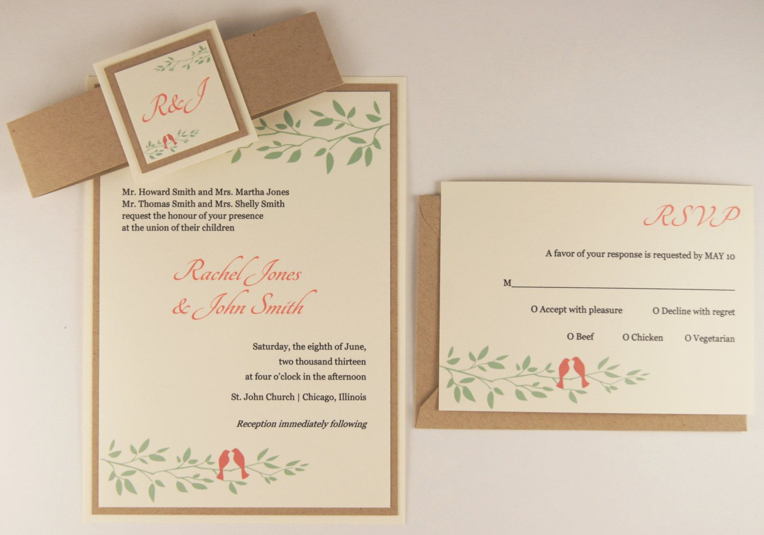 Coral & Mint Lovebirds Wedding Invitation Suite - Coral (Pink) and ...