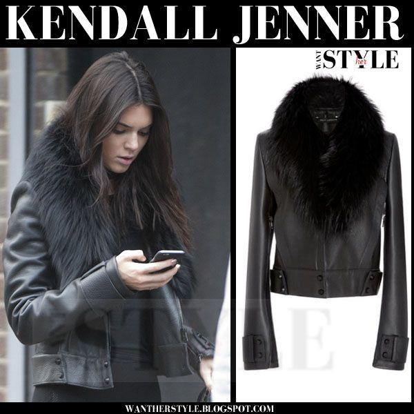 1f24ace9241ff8 Kendall Jenner in black leather fur collar bomber jacket | Celebrity ...