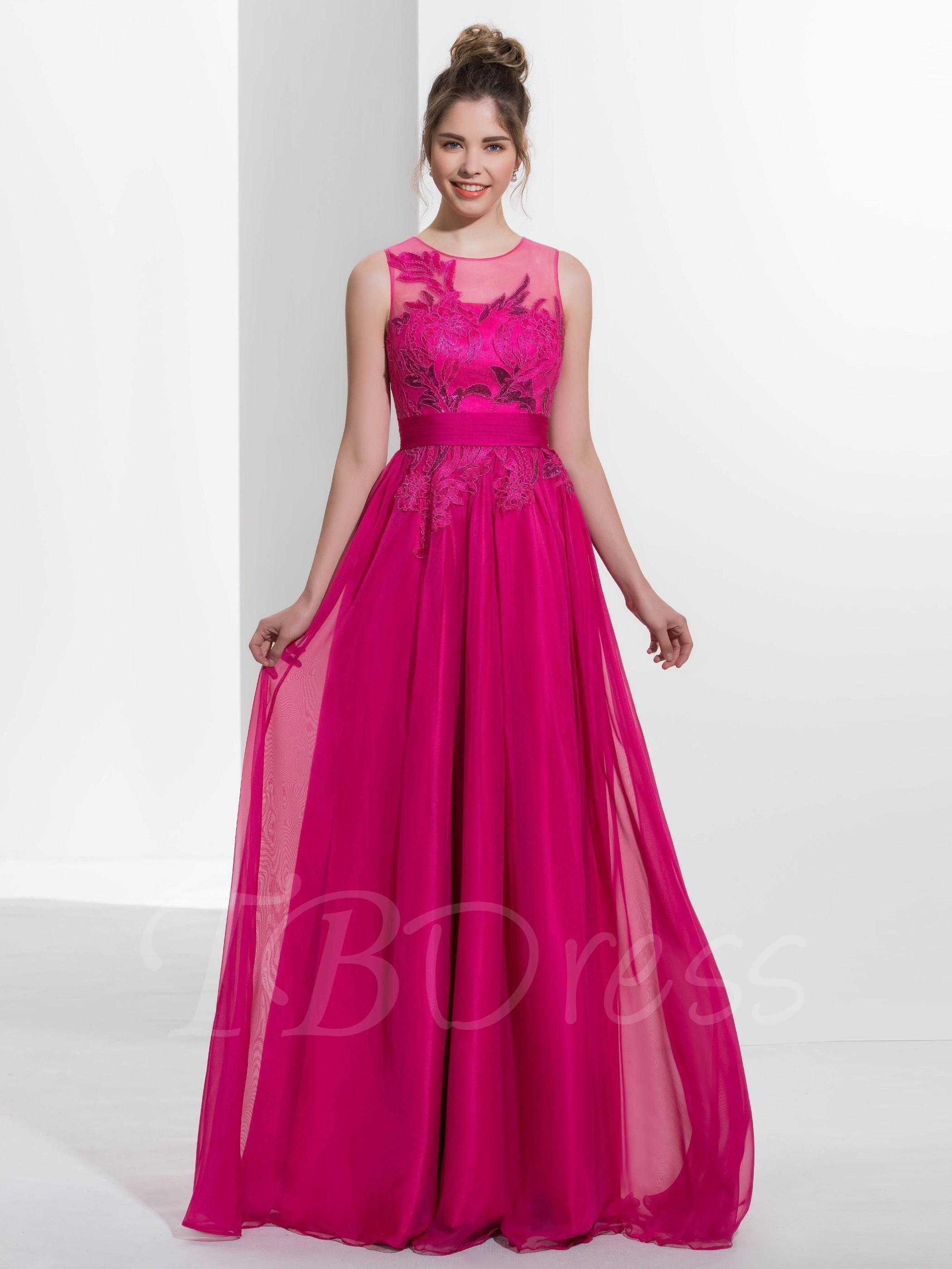 TBDress - TBDress A-Line Jewel Appliques Sequins Sweep Train Prom ...