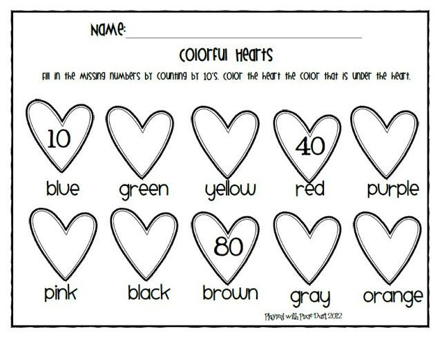 Valentine number fill in and color sheet  Coloring Pages for