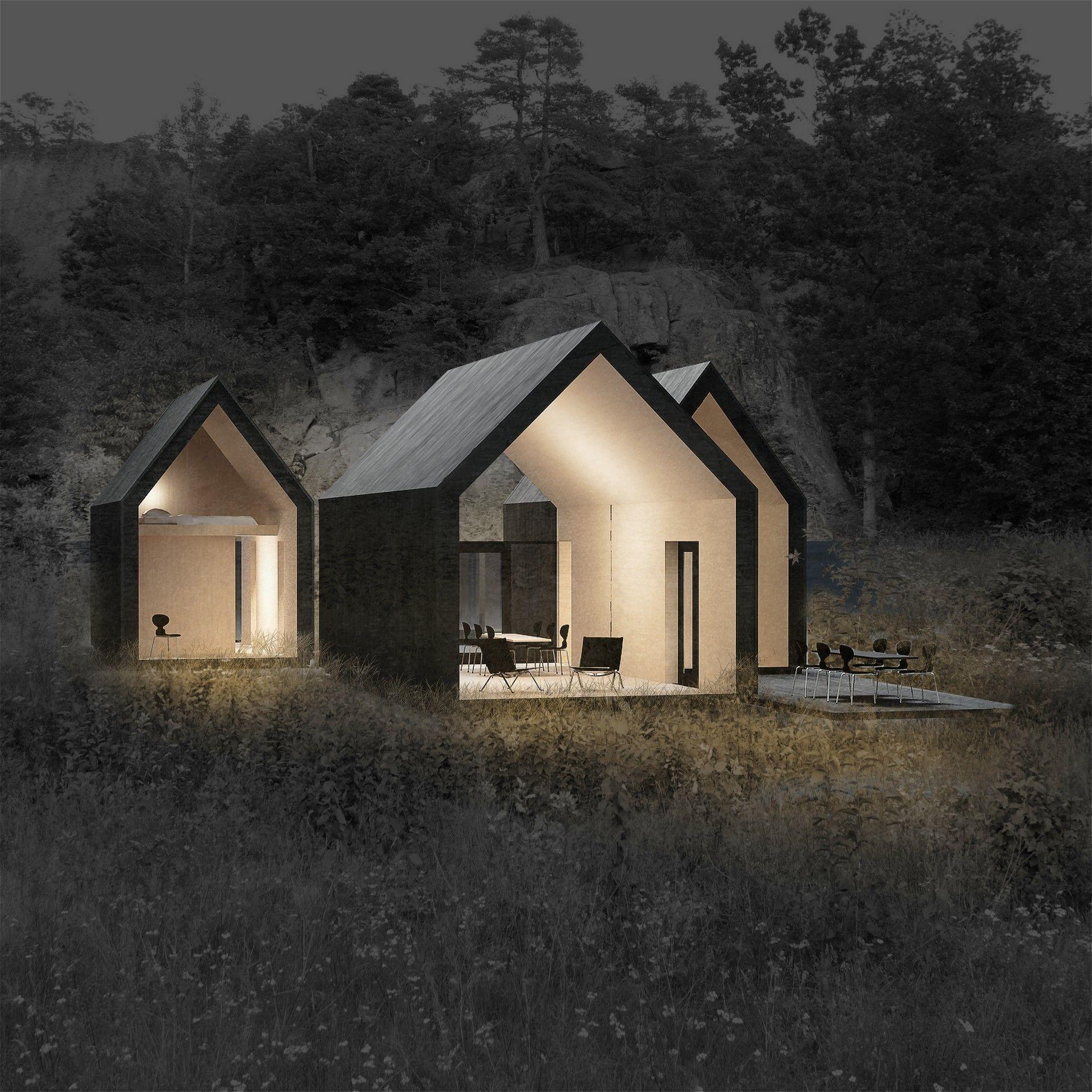 reiulf ramstad arkitekter project micro cluster cabins housz