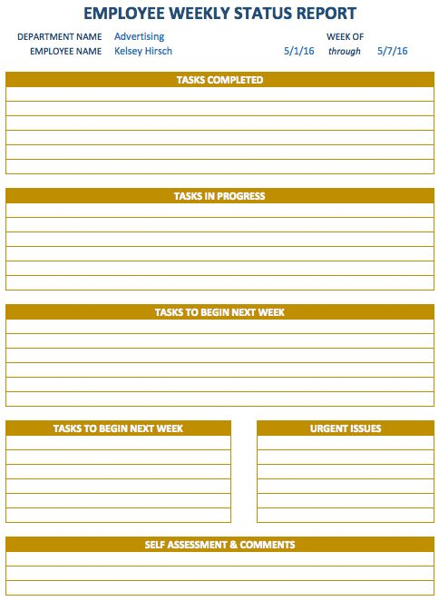 Weekly Report Template  Schedule Planners    Schedule