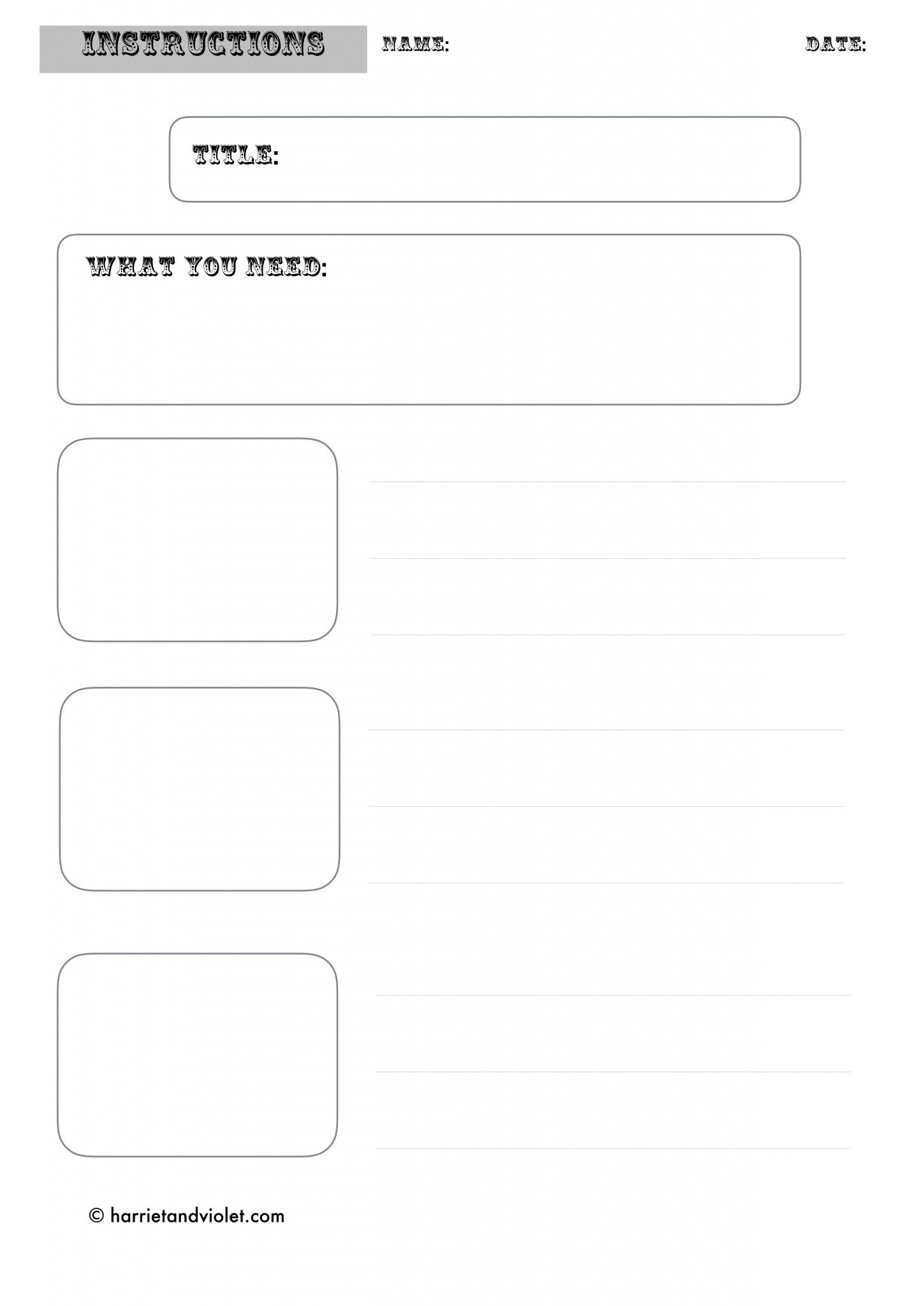 Instruction Writing Template
