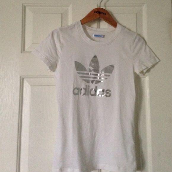 White and silver Adidas logo shirt | D, Logos and Adidas
