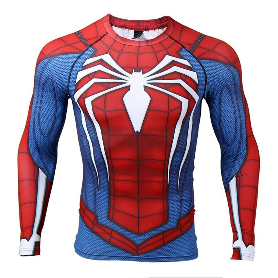 Red Plume Womens Compression Sports Tights Fitness T-Shirt,Movie Hero:Spider