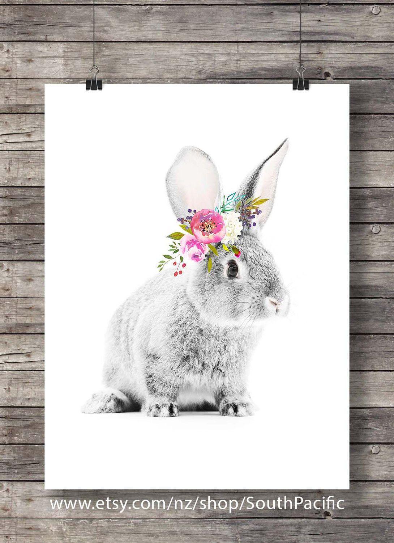 Watercolor Rabbit With Flower Garland Flower Crown Printable Art Printable Nursery Roses Art