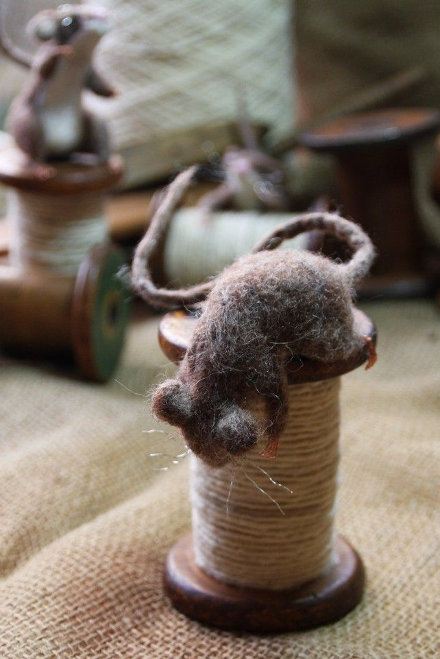 Peeping Mill Mouse - needle felted mouse sculpture with wooden bobbin