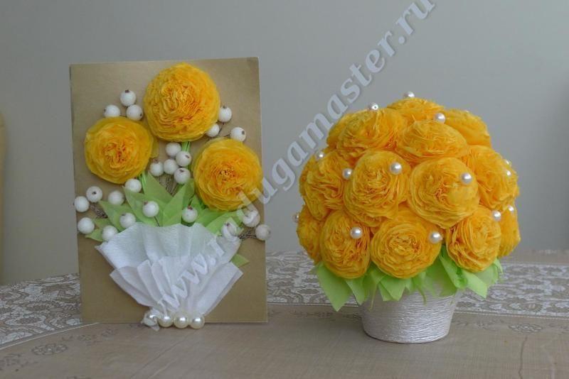 Открытки из цветов из салфеток своими руками