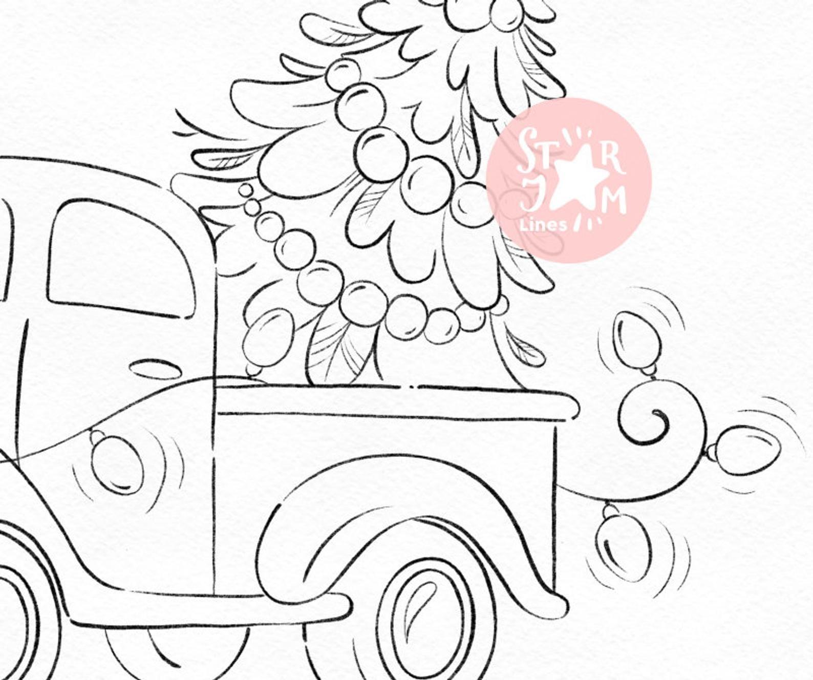 Christmas Truck Digi Stamp Tree Garland Coloring Page Etsy In 2021 Christmas Tree Coloring Page Christmas Drawing Christmas Coloring Pages