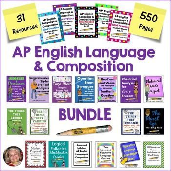 This ever-growing AP English Language & Composition bundle is for the first-time instructor or seasoned teacher who needs to shake things up a bit. It contains 550 pages of AP Language and Composition resources (all 31 of my AP products!). Priced individually, the value of these products is $122.00, so the  BUYER SAVES $20 WITH THE BUNDLE!