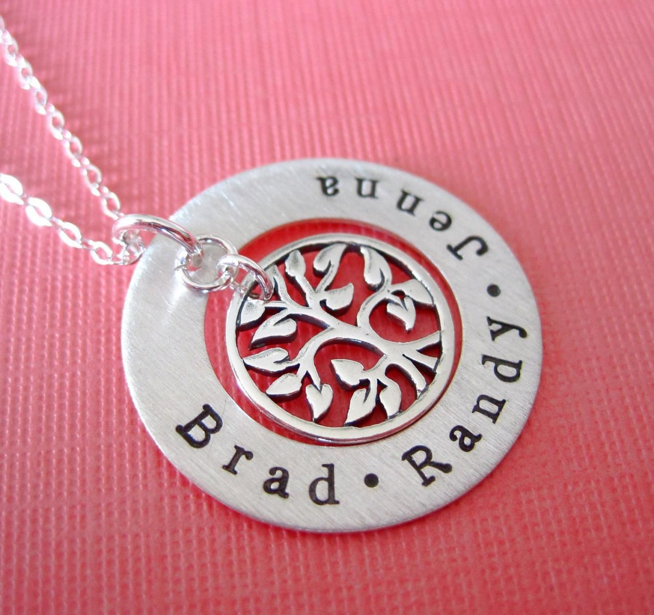 Personalized Family Names Hand Stamped with Tree of Life Necklace