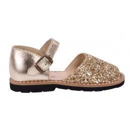 Sandales enfant or à paillettes dorées