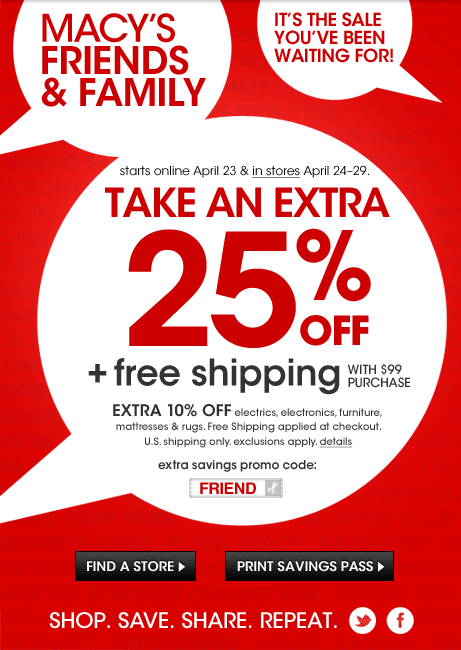 8f0311560 Macy's Friends and Family Sale April 2013: 25% savings | FDG Blog ...