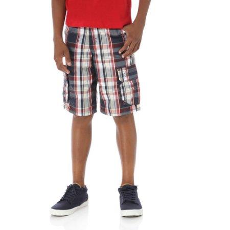 Wrangler Boys' Fashion Plaid Cargo Shorts, Blue