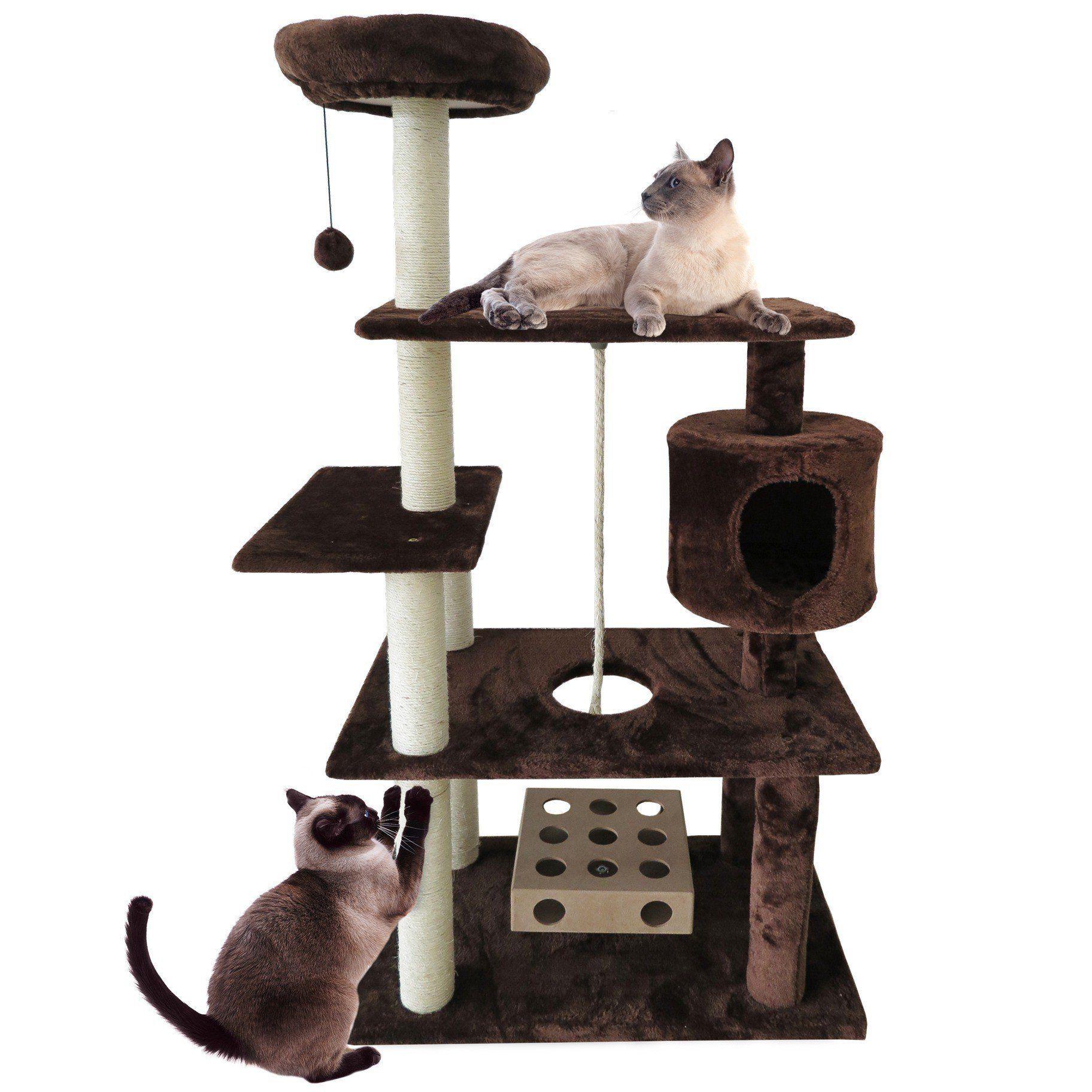 1 Piece Dark Brown 55 High Comfort Scratcher Cat Condo