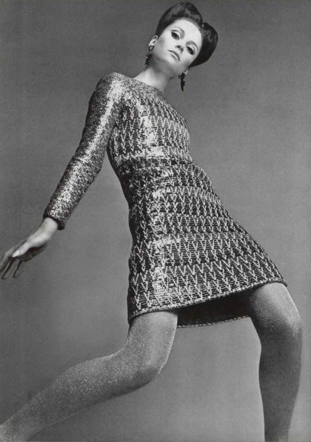 Modern in metallic textures, from Yves Saint Laurent 1966.
