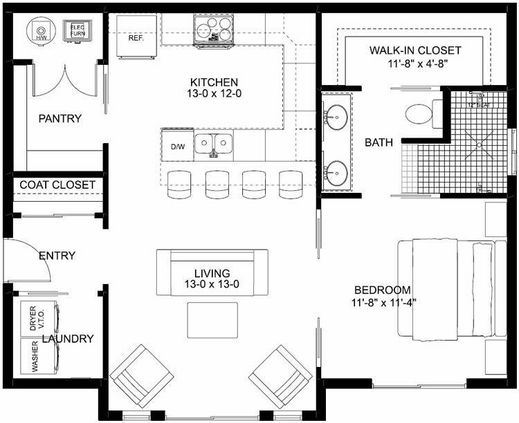 Plan No 580796 House Plans By Westhomeplanners Com In 2020 Small House Layout Bathroom Floor Plans Small Floor Plans