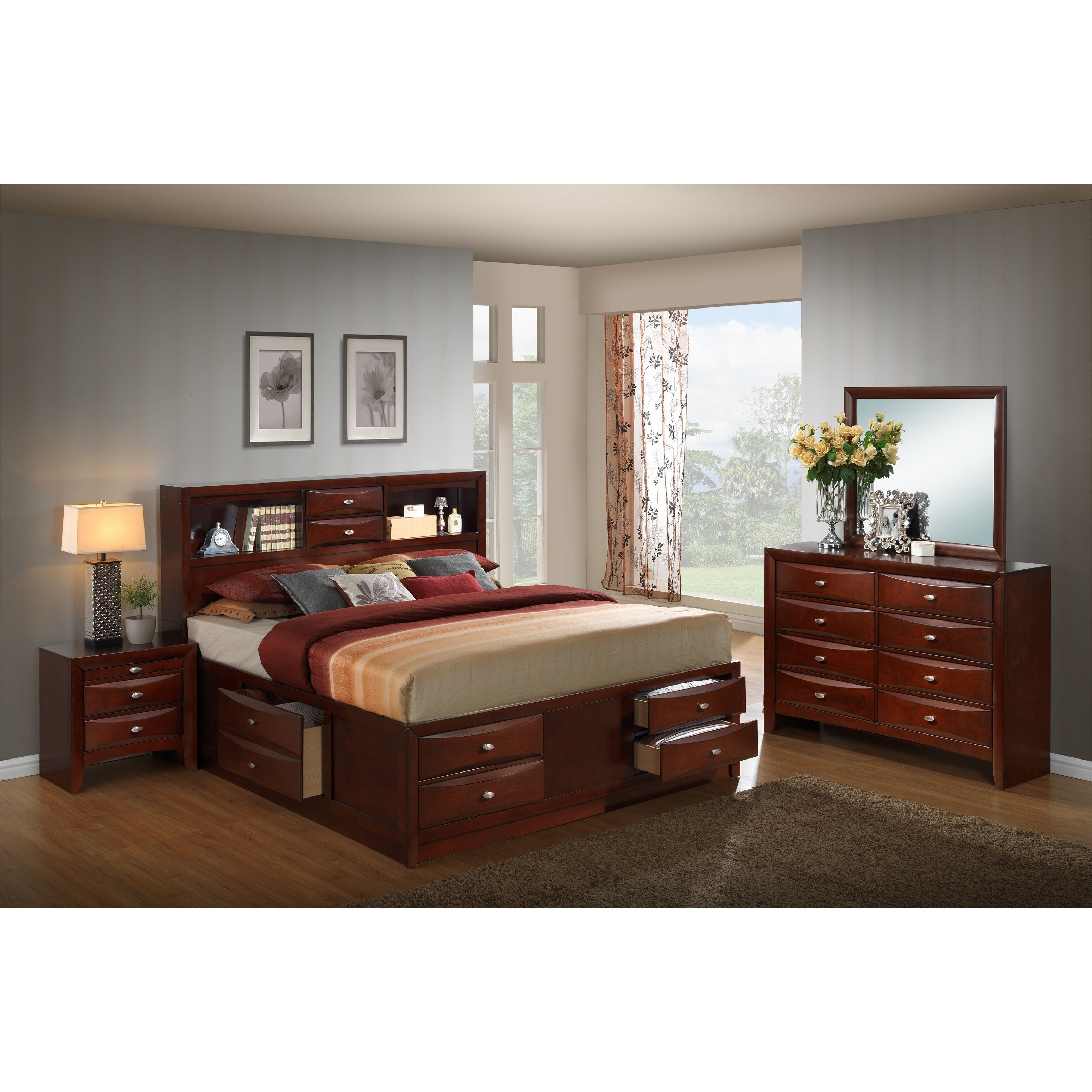 Emily 111 Wood Storage Bed Group with King Bed, Dresser