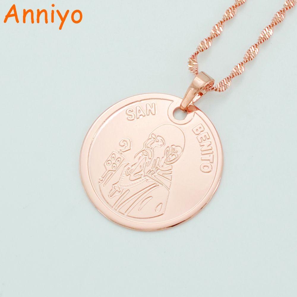 Anniyo San Benito Pendant Necklaces for WomenMenRose Gold Color