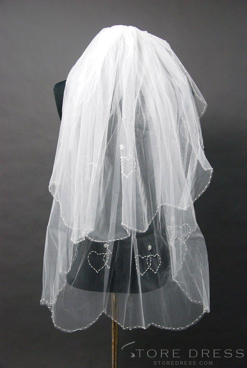 Faddish Elbow Length White Lace Wedding Veil at Storedress.com