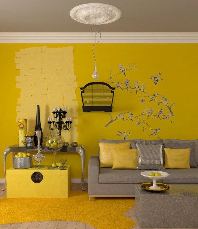 Sunny Yellow Paint Colors Make Your Living Room Feels Warm Stunning Gray Decoration With Ceiling White Trim And Sofa On