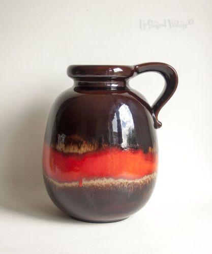 Vintage-Retro-Scheurich-WEST-GERMAN-Red-Ceramic-484-30-Lava-Jug-Vase-FREE-UK-P-amp-P
