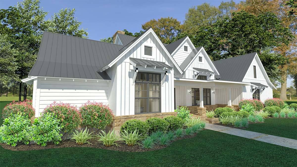 Plan wg modern farmhouse with split bedroom layout and outdoor
