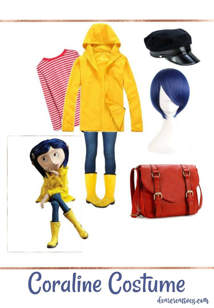 Easy No Sew Diy Coraline Halloween Costume Dearcreatives Com Coraline Halloween Costume Easy Halloween Costumes Easy Costumes