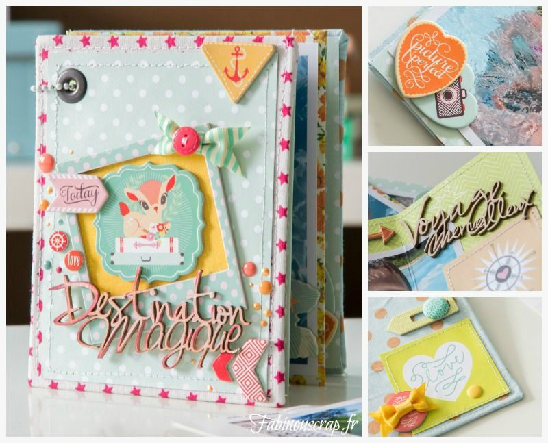 """We love this creative mini album and the wonderful use of our chipboard stickers from the Our Travels collection by Adrienne Looman for Webster's Pages.  """"Destination Magique"""" mini-album - Scrapbook.com by Fabinou."""