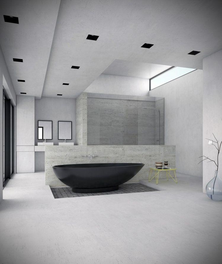 minimalistisch eingerichtetes badezimmer grau schwarz badewanne - badezimmer grau design