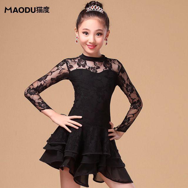 New long sleeve ballroom lace floral Latin dance one-piece dress for little  girl children kids dancer 7ef95fd12