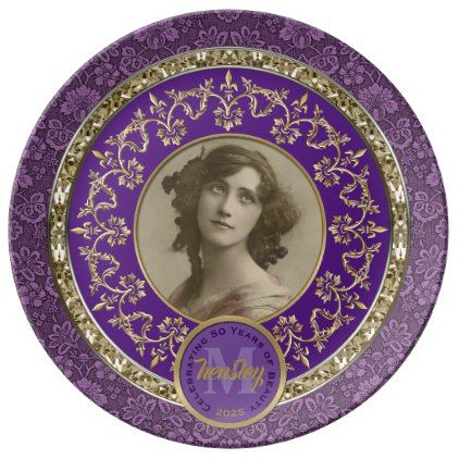 Photo Gold Classical Damask Commemorative Purple Dinner Plate - flowers floral flower design unique style  sc 1 st  Pinterest & Photo Gold Classical Damask Commemorative Purple Dinner Plate