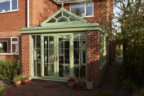 Upvc Conservatory In Traditional Green Conservatory Upvc Conservatories Uk