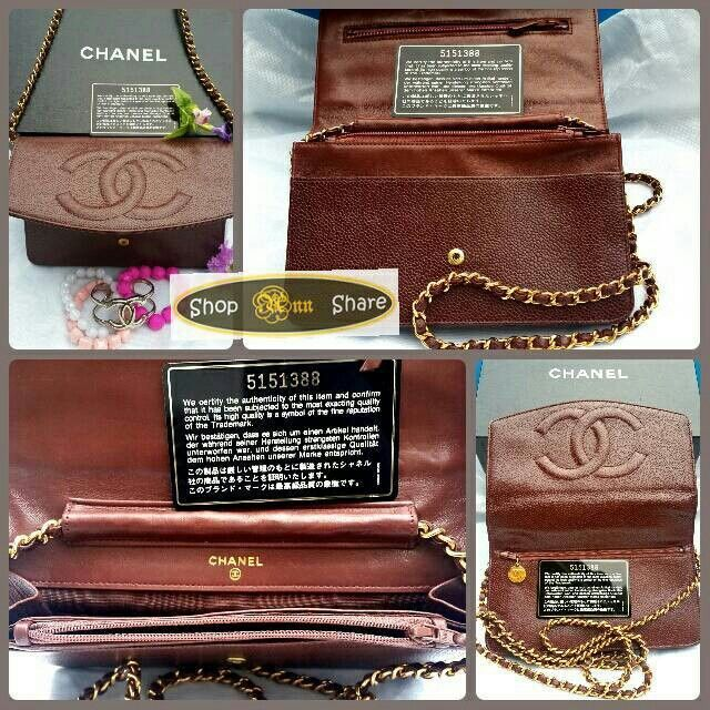 #ChanelVintage #ChanelThailand #goldchain #darkbrown #Pre-owned #perfect #condition Line: shopannshare