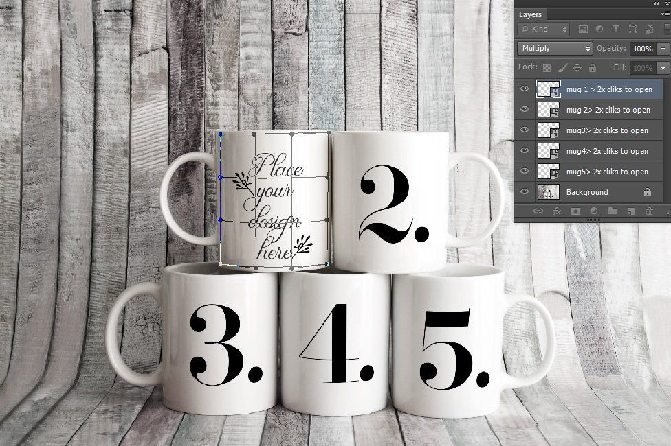 5 coffee mug mockup five cup mock up Sublimation mugs